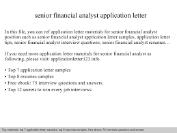Senior Financial Analyst Resume Samples by Senior Financial Analyst Application Letter