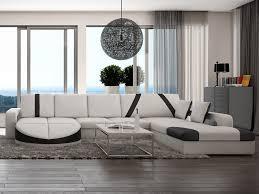 canapé d angle droit en simili noir blanc mintika