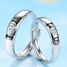 rings love couple images Korean creative quot i love you quot 925 silver opening couple rings jpg