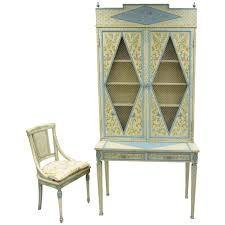Secretary Style Computer Desk by Custom Hand Painted Italian Style Secretary Desk And Chair In The