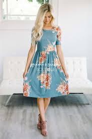 dusty blue cream floral modest summer dress cute modest clothes