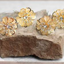 flower hair pins gold mesh rhinestone flower hair pins hair accessories basic