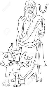 black and white cartoon illustration of mythological greek god