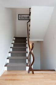 Wood Banister Carpeting Stairs Staircase Contemporary With Carpet Stair Runner