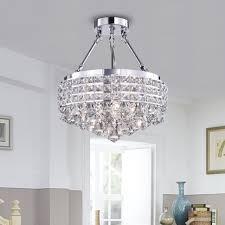 4 Light Semi Flush Ceiling Fixture by Round Shade Chrome 4 Light Crystal Semi Flush Mount Chandelier