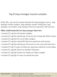 Manager Resume Sample by Top 8 Mep Manager Resume Samples 1 638 Jpg Cb U003d1431582880
