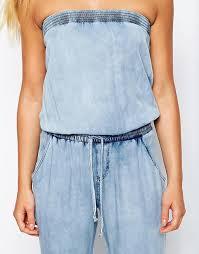 strapless denim jumpsuit look look strapless denim jumpsuit