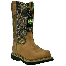 john deere mens mossy leather 11in pull on camo cowboy work boots