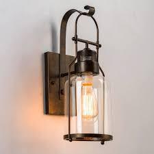 Wall Scone Sunwe Retro Industrial Loft Lantern 1 Light Wall Sconce With Clear