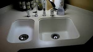 Corian Kitchen Sink by How To Whiten A Corian Sink In An Rv Youtube