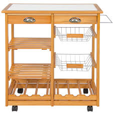 Kitchen Cart With Drawers by Best Choice Products Rolling Wood Kitchen Storage Cart Dining