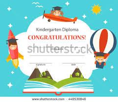 kindergarten graduation hats kindergarten diploma opened book children graduation stock vector
