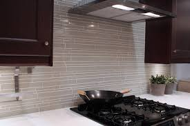 Light Taupe Linear Glass Mosaic Tile Backsplash Modern Kitchen - Linear tile backsplash