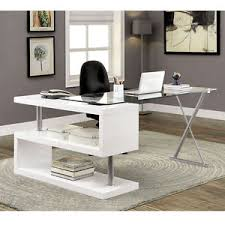 S Shaped Desk Bronwen Modern Office Writing Computer Desk S Shape Shelf Glass
