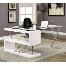 White High Gloss Computer Desk Bronwen Modern Office Writing Computer Desk S Shape Shelf Glass