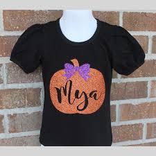 pumpkin glitter shirt halloween shirt girls monogram pumpkin