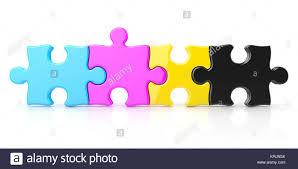 cymk puzzle cmyk color puzzle row 3d stock photo 169442166 alamy