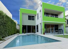 modern cool home exterior color ideas that has green and white can