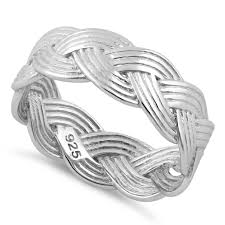 braided band sterling silver braided band ring