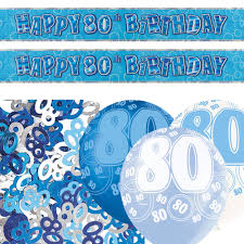 blue silver glitz 80th birthday banner balloon decoration