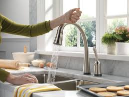 Touch Free Kitchen Faucet Brushed Nickel Kitchen Sink Faucet With Pull Down Sprayer