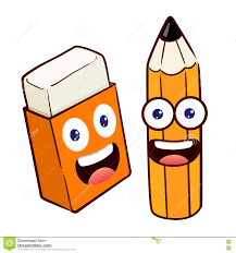 pencil and eraser cartoon character stock vector image 71742603