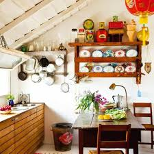 small farmhouse kitchen ideas with open shelves with racks and