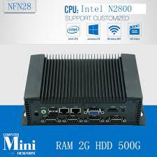 ordinateur de bureau wifi intégré fanless industrial mini pc with atom n2800 with ram 2g hdd 500g