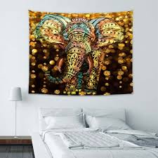 tapestry home decor elephant tapestry aztec gold elephant with gold rain shine flicker