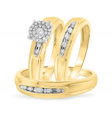 3 8 carat t w trio matching wedding ring set 14k yellow gold 8 ct t w trio matching wedding ring set 10k yellow gold
