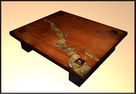 custom made redwood table with stone inlay by hamari design