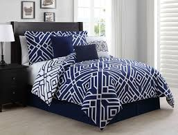 King Linen Comforter 7 Piece Cal King Carter Navy White Reversible Comforter Set