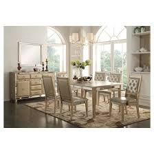 Acme Dining Room Set Voeville Dining Table With Leaf Antique Gold Acme Target