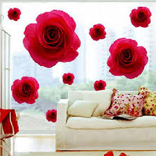 Home Decor Decals Elegant Red Rose Flower Wall Sticker Decals Removable Home Decor