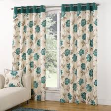 Modern Kitchen Curtains by Modern Casa Floral Trail Print Lined Eyelet Curtains Teal Teal