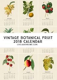 botanical calendars beautiful vintage botanical fruit printable calendar for 2018