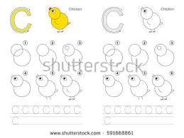 tutorial vector c vector illustrated alphabet kid educational game stock vector