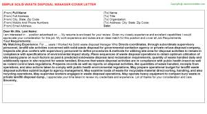 solid waste disposal manager cover letter