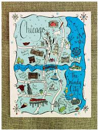 Chicago Maps by New York City Map Art Print City Maps Travel Illustration And