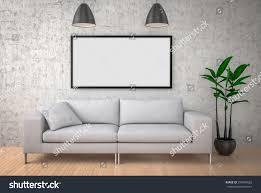 interior mock poster big sofa concrete stock illustration