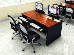 Recessed Monitor Computer Desk Recessed Monitor Computer Desk With Retractable Tray Computer