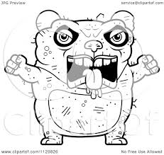 cartoon clipart of an outlined angry ugly panda black and white