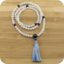 white beads necklace images White jade mala beads necklace with lapis lazuli meditative wisdom jpg