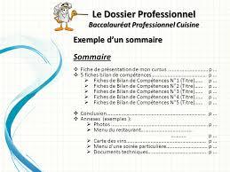 dossier bac pro cuisine le dossier professionnel baccalauréat professionnel cuisine ppt