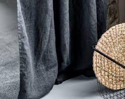 Charcoal Drapes Dark Grey Graphite Washed Linen Curtains Linen Drapes In