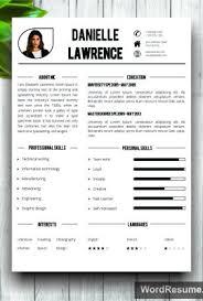 Modern Word Resume Templates Modern Resume Template Cover Letter Word U2013 U201cdanielle Lawrence U201d