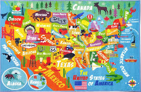 Orange Outdoor Rug by Zoomie Kids Weranna Usa United States Geography Map Educational