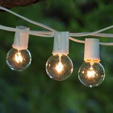 Bulb Lights String by 50 Ft White C9 String Light With G40 Clear Bulbs