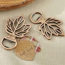 bottle opener favor copper fall leaf bottle opener wedding favors fall and autumn