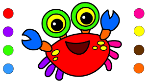 learn colors with crab coloring pages for kids children toddlers